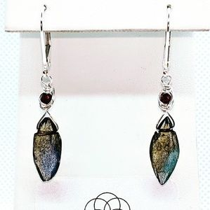 Labradorite garnet & 92.5 sterling silver earrings